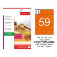 Tanex TW-2059 42x59,69 mm Turuncu Floresan Laser Etiket 100 Lü