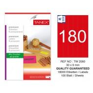 Tanex TW-2060 30x9 mm Kırmızı Floresan Laser Etiket 100 Lü