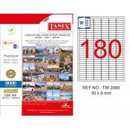 Tanex TW-2060 30x9mm Kuşe Laser Etiket 100 Lü Paket