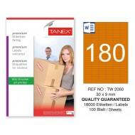 Tanex TW-2060 30x9mm Turuncu Pastel Laser Etiket 100 Lü
