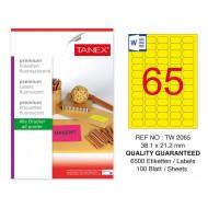 Tanex TW-2065 38,1x21,2 mm Sarı Floresan Laser Etiket 100 Lü