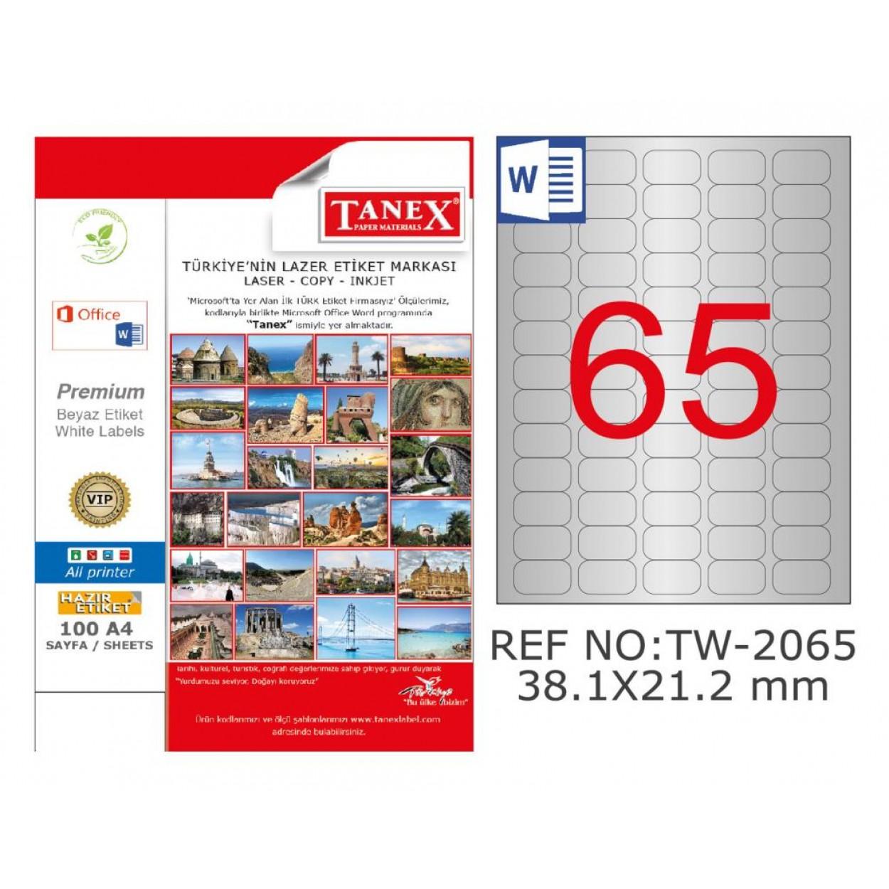 Tanex TW-2065 38.1x21.2mm Gümüş Lazer Etiket 1625 Li