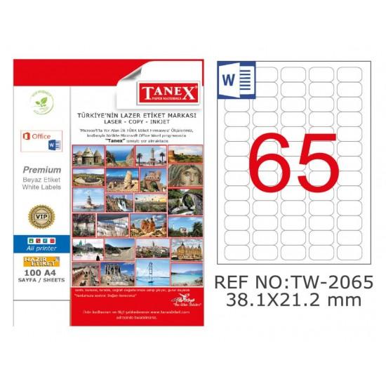 Tanex TW-2065 38.1x21.2mm Kuşe Laser Etiket 100 Lü Paket