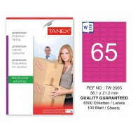 Tanex TW-2065 38,1x21,2mm Pembe Pastel Laser Etiket 100 Lü