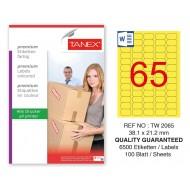 Tanex TW-2065 38,1x21,2mm Sarı Pastel Laser Etiket 100 Lü Paket