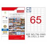 Tanex TW-2065 38.1x21.2mm Şeffaf Laser Etiket 1625 Li