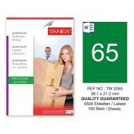 Tanex TW-2065 38,1x21,2mm Yeşil Pastel Laser Etiket 100 Lü