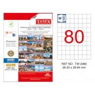 Tanex TW-2080 26.25x29.7mm Kuşe Laser Etiket 100 Lü Paket