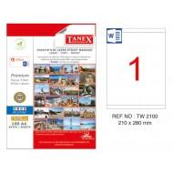 Tanex TW-2100 210x280mm Kuşe Laser Etiket 100 Lü Paket