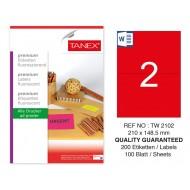 Tanex TW-2102 210x148,5 mm Kırmızı Floresan Laser Etiket 100 Lü