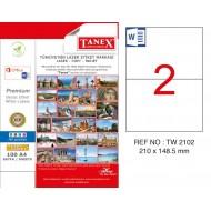 Tanex TW-2102 210x148.5mm Kuşe Laser Etiket 100 Lü Paket