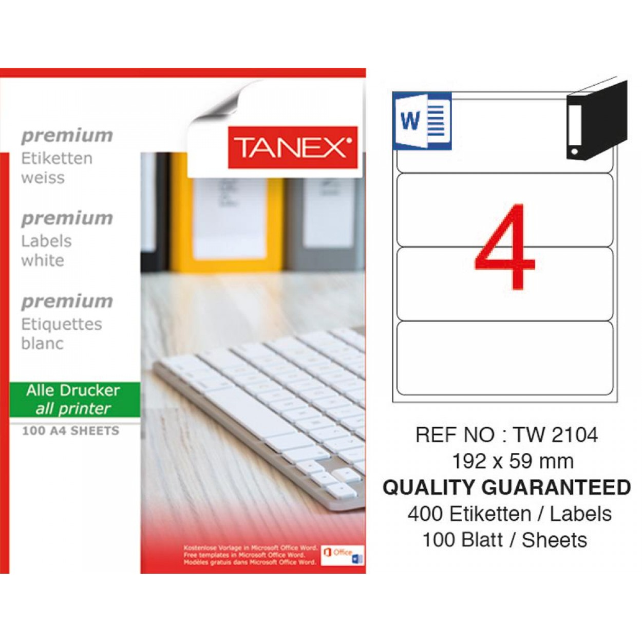 Tanex TW- 2104  Laser Etiket 100 Lü Paket