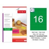 Tanex TW-2105 105x37,125 mm Yeşil Floresan Laser Etiket 100 Lü