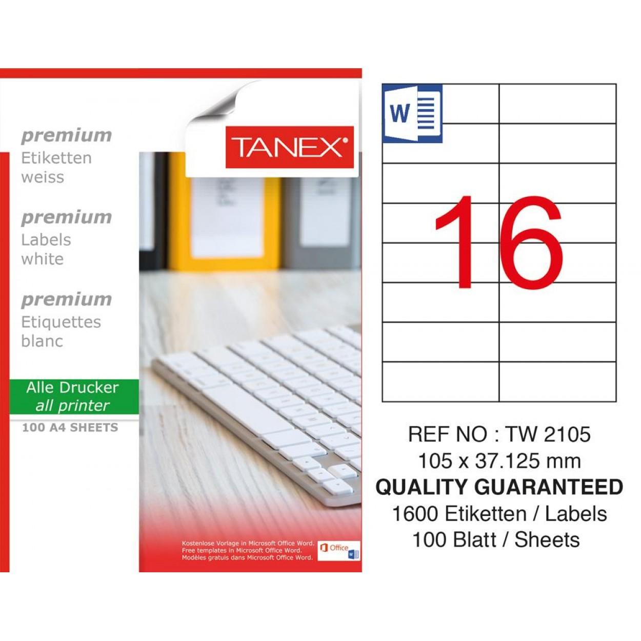 Tanex TW- 2105 Laser Etiket 100 Lü Paket