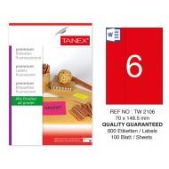 Tanex TW-2106 70x148,5 mm Kırmızı Floresan Laser Etiket 100 Lü