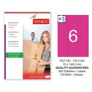 Tanex TW-2106 70x148.5mm Pembe Pastel Laser Etiket 100 Lü