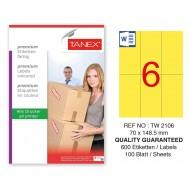 Tanex TW-2106 70x148,5mm Sarı Pastel Laser Etiket 100 Lü Paket