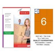 Tanex TW-2106 70x148,5mm Turuncu Pastel Laser Etiket 100 Lü