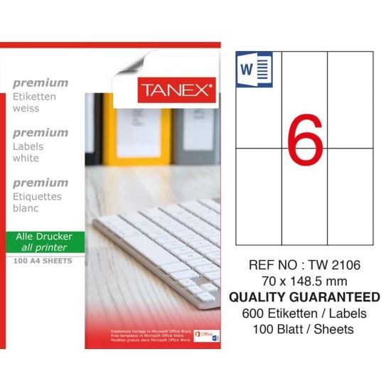 Tanex  TW-2106 Laser Etiket 70 x 148.5 mm