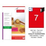 Tanex TW-2107 192,5x39 mm Kırmızı Floresan Laser Etiket 100 Lü
