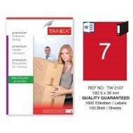 Tanex TW-2107 192,5x39mm Kırmızı Pastel Laser Etiket 100 Lü