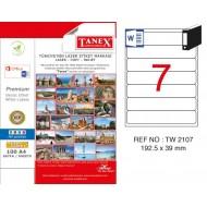Tanex TW-2107 192.5x39mm Kuşe Laser Etiket 100 Lü Paket