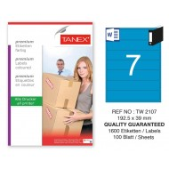 Tanex TW-2107 192,5x39mm Mavi Pastel Laser Etiket 100 Lü