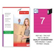 Tanex TW-2107 192.5x39mm Pembe Pastel Laser Etiket 100 Lü
