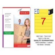 Tanex TW-2107 192,5x39mm Sarı Pastel Laser Etiket 100 Lü Paket