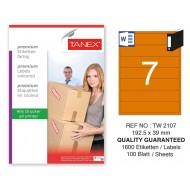 Tanex TW-2107 192,5x39mm Turuncu Pastel Laser Etiket 100 Lü