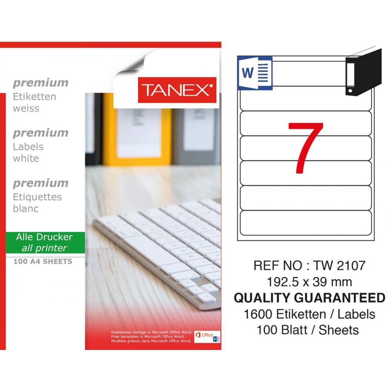 Tanex TW- 2107  Laser Etiket 100 Lü Paket