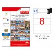 Tanex TW-2108 192x34mm Kuşe Laser Etiket 100 Lü Paket