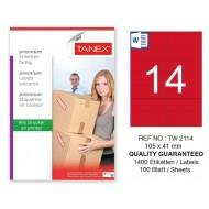 Tanex TW-2114 105x41mm Kırmızı Pastel Laser Etiket 100 Lü