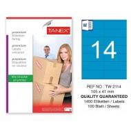 Tanex TW-2114 105x41mm Mavi Pastel Laser Etiket 100 Lü