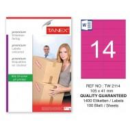 Tanex TW-2114 105x41mm Pembe Pastel Laser Etiket 100 Lü