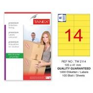 Tanex TW-2114 105x41mm Sarı Pastel Laser Etiket 100 Lü Paket