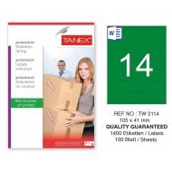 Tanex TW-2114 105x41mm Yeşil Pastel Laser Etiket 100 Lü
