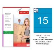 Tanex TW-2115 70x56mm Mavi Pastel Laser Etiket 100 Lü