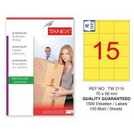 Tanex TW-2115 70x56mm Sarı Pastel Laser Etiket 100 Lü Paket