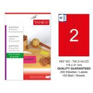 Tanex TW-2116 116x41 mm Kırmızı Floresan Laser Etiket 100 Lü