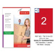 Tanex TW-2116 116x41mm Kırmızı Pastel Laser Etiket 100 Lü