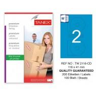 Tanex TW-2116 116x41mm Mavi Pastel Laser Etiket 100 Lü