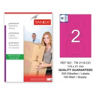 Tanex TW-2116 116x41mm Pembe Pastel Laser Etiket 100 Lü