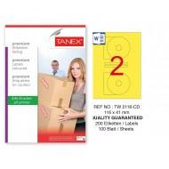 Tanex TW-2116 116x41mm Sarı Pastel Laser Etiket 100 Lü Paket