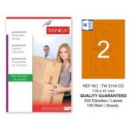 Tanex TW-2116 116x41mm Turuncu Pastel Laser Etiket 100 Lü