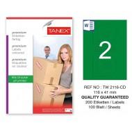Tanex TW-2116 116x41mm Yeşil Pastel Laser Etiket 100 Lü