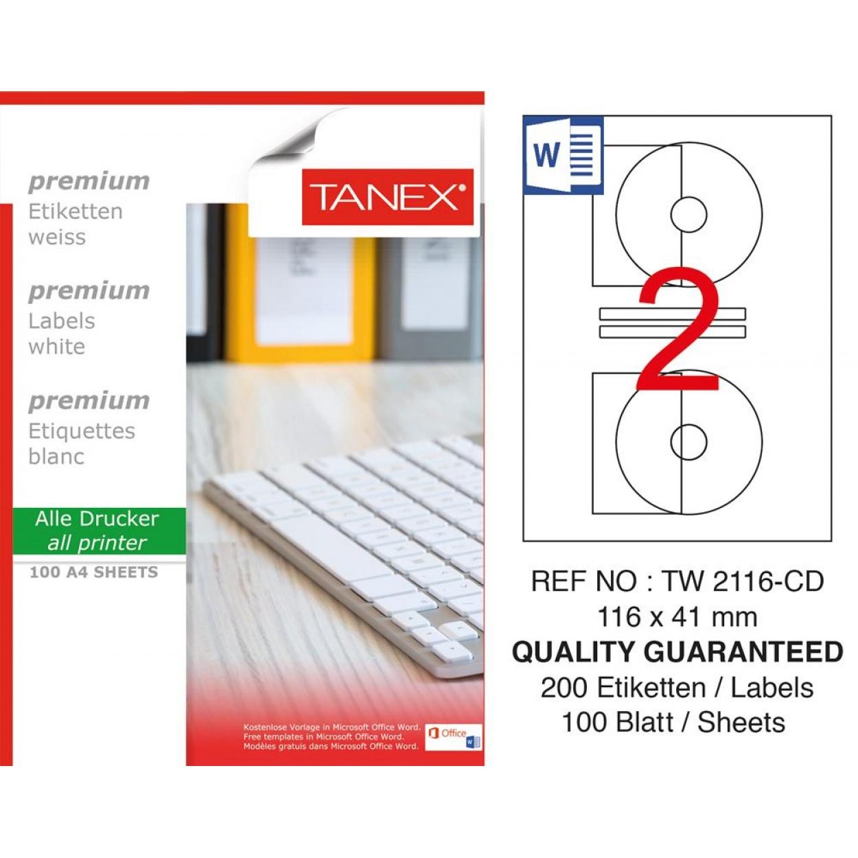 Tanex TW- 2116 Laser Etiket 100 Lü Paket