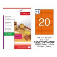Tanex Tw-2120 31x14 mm Turuncu Floresan Laser Etiket 100 Lü