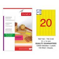Tanex TW-2120 31x14 mm Sarı Floresan Laser Etiket 100 Lü