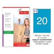 Tanex TW-2120 31x14mm Mavi Pastel Laser Etiket 100 Lü